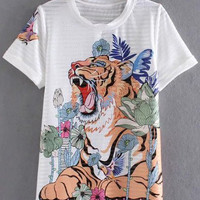 White Short Sleeve Hollow Tiger Print T-shirt
