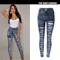 Hot Sale High Waist Denim Strong Character Ripped Holes Plus Size Skinny Pants [6365921924]
