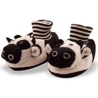 Jersey Cow Toddler Sock Top Bootie Black and White Faux Fur Slippers