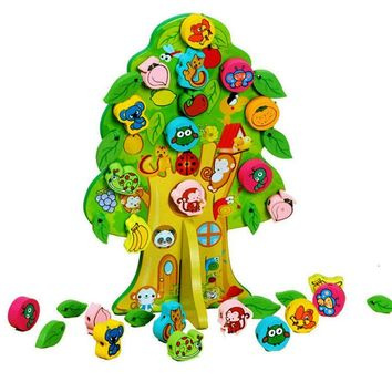 3D DIY Colourful Wooden Toy Animal Fruit Tree House Stringing Beads Baby Birthday Gift Children Favor Educational &Learning Toys