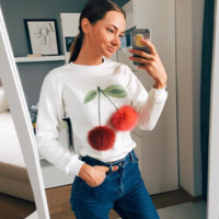 Hitz female long-sleeved white sweater printed cherry ball