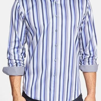 Men's Bugatchi Shaped Fit Stripe Sport Shirt,