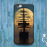 iPhone 4 4s 5 5s 5c 6 6s plus + iPod Touch 4th 5th 6th Gen Beautiful Pirate Ship Moon Dusk Naval Nautical Boat Phone Cover Cute Custom Case