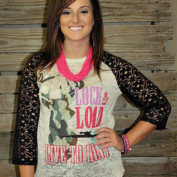 Lock and Load Baseball Burnout Tee with Crochet Sleeves