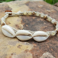 Hemp Anklet, Cowrie Shell Anklet, Pale Citrine, Coconut Shells, Surfer Girl, Beach Jewelry, Handmade Anklet, Summer Jewelry, Beautiful Gift