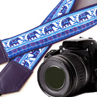 Dark purple Elephant camera strap. Ethnic camera strap. DSLR Camera Strap. For Fuji Nikon Canon Sony & other cameras.