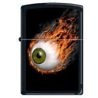 Zippo 2912 Classic Flaming Eyeball Black Matte Finish Windproof Pocket Lighter