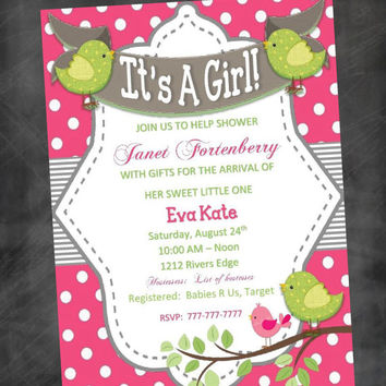 DIY Baby Shower for Girl with Polka Dots Stripes and Birds Customizable