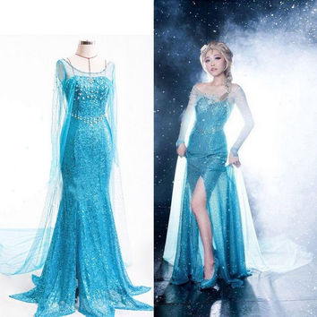 Frozen Princess Elsa One Piece Dress Halloween Costume [9211561284]