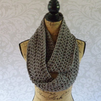 Ready To Ship Infinity Scarf Crochet Knit Grey Gray Women's Accessories Eternity Fall Winter