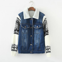 Denim Geometric Pattern Sleeve Collar Shirt