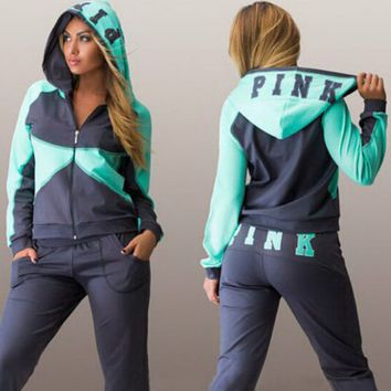 Vitoria's Secret Pink Print Hoodie Top Sweater Pants Sweatpants Set Two-Piece Sportswear