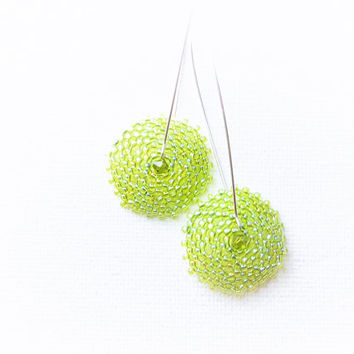 Apple green. Disk dangle earrings. Beadwork Spring fashion jewelry