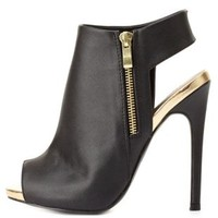 Slingback Peep Toe Booties by Charlotte Russe - Black