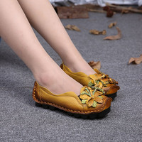 SOCOFY Genuine Leather Handmade Flower Loafers Soft Flat Casual Shoes