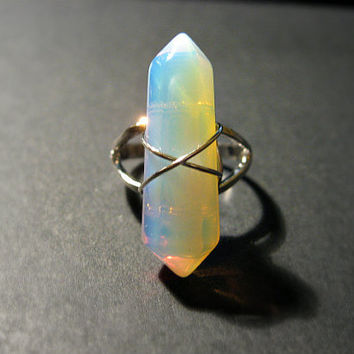 Opalite Point Wire Wrapped Stone Adjustable Ring, Bohemian, Hippie, Boho, Silver Plated