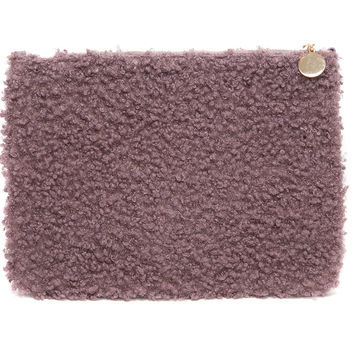 Textured Fuzzy Mauve Clutch