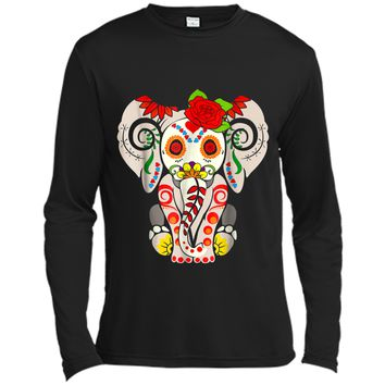 Elephant Sugar Skull  Day Of The Dead Halloween Costume Long Sleeve Moisture Absorbing Shirt