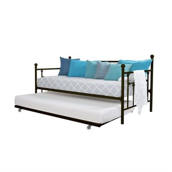 Twin Size Metal Daybed With Pull-Out Trundle Bed In Bronze Finish