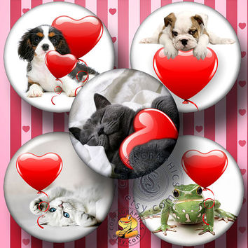 """Printable Digital Collage Sheets - Valentine's Animals - 1.5"""", 1.25"""", 30mm, 1"""",  25mm circles for Pendants, Cabochons, Bottle Caps - CG-859C"""