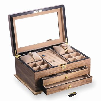 Walnut Lacquered Wood 3 Level Jewelry Box