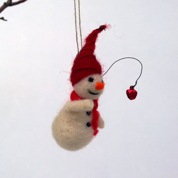Felt Snowman Christmas decoration Hanging ornament Collectable miniature snowman Winter tiny figurine Waldorf magic Xmas Woolen ornament