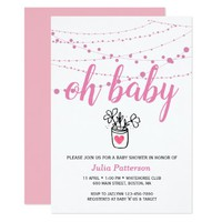 Simple Lights Pink Baby Shower Invitation