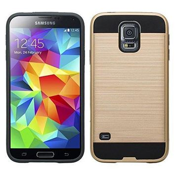 Galaxy S5 Case, Slim Hybrid Dual Layer[Shock Resistant] Armor Case for Samsung Galaxy S5 - Brush Gold