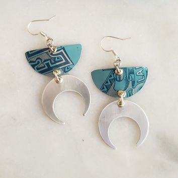 Vintage Edgeworth Tin Earrings with Silver Crescent Moons