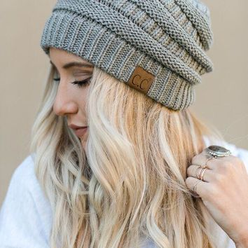 Knitted Pull On Beanie - Light Gray