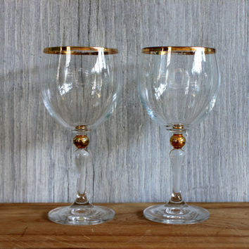 vintage pair of gold trimmed wine glasses // 22k gold // toasting // vintage wedding // stemware // barware