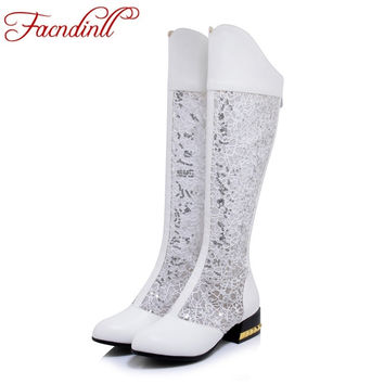 Women's Mesh Knee High Zipper Flat Boots
