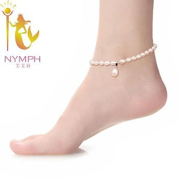 NYMPH Pearl Anklets 100% Natural Freshwater Pearl fine jewelry Trendy Fashion For Girl Women NYJL101