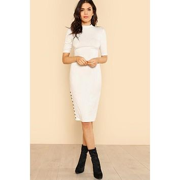 Button Embellished Form Fitting White Dress
