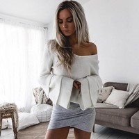 Sweater Women  sweater with bell sleeve Fashion