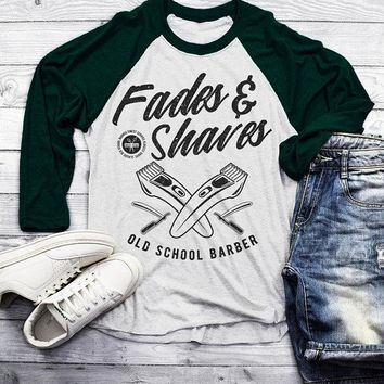 Men's Barber T-Shirt Fades & Shaves Vintage Razor Shirt For Hipster Barbers Raglan 3/4 Sleeve