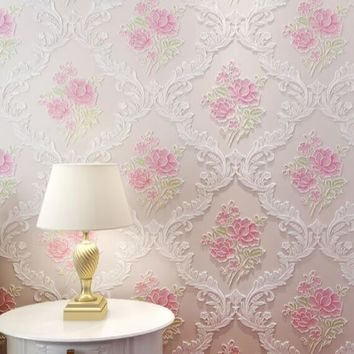 Deming Fabric Flocking Wallpaper Roll European Rural Style 3D Embossed Rose Floral Wallpaper Pink Wallpapers for Warm Bedroom