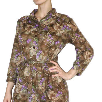 Beautiful VTG Floral dress Soviet dress Brown Floral Purple Flowers summer dress Vintage sundress