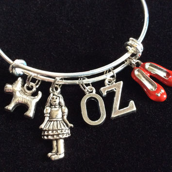 Dorothy and Toto Charms on a Silver Expandable Adjustable Bangle Bracelet Trendy Stacking Handmade Gift
