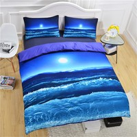 Moon And Ocean sea sky beach Duvet Cover Set With Pillowcases twin full queen king bedspread Bed Linen bedding set