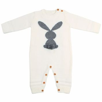 Cute Knitted Rabbit tail Patchwork Romper Newborn Infant Baby Boy Girl Weave Long Sleeve Rompers Jumpsuit Outfits Clothes