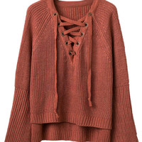 Brown V-Neck Lace Up Front Flared Sleeve Knit Jumper