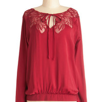 ModCloth Mid-length Long Sleeve A Chapter by Candlelight Top