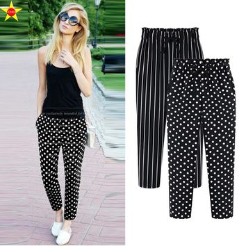 L-5XL Plus Size Casual Women Trousers Ankle-Length Harem Pants Fashion Dot Print Chiffon Summer Striped Extra Large