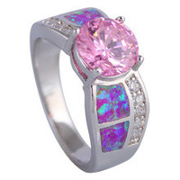 Jewelry wedding rings Party Jewelry Pink Morganite Pink Fire Opal silver Rings for women size 5 6 6.5 7 8 8.5 9 10 R497