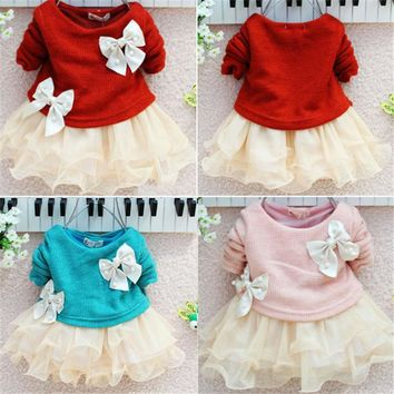 Lace Mesh Tulle Tutu Dresses Girls Bow Sweater Dresses Fancy Baby Girls Knit Cute Children Mini Dress