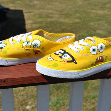 Funny Sponge Bob Hand Painted Sneakers size 8