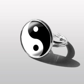Yin yang RING Abstraction Jewelry, Adjustable Ring. Gift for Women (MUM) and Girls (sister).