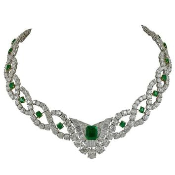 Cartier Diamond Emerald Necklace