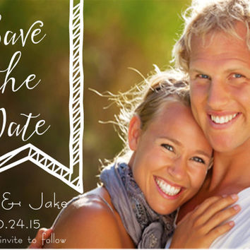 Save the Date Cards, Beautiful Summer Wedding Printed 5x7 Cards or Digital Wedding Stationary